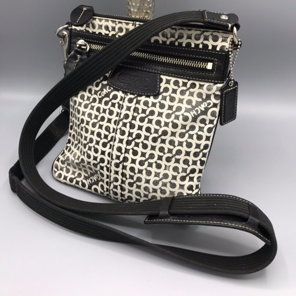 Coach Handbags - Coach Swingpack Small C black and white Preowned